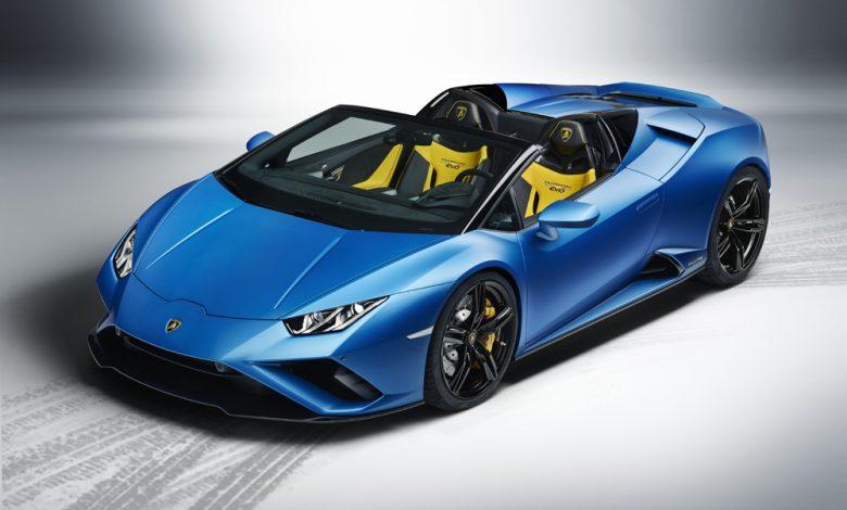 Vista frontale della nuova Lamborghini Huracán EVO RWD spyder